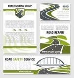 Modelli di vettore di servizio di riparazione della costruzione di strade illustrazione di stock