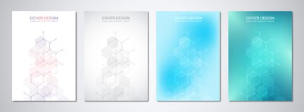 Modelli di vettore per la copertura o l'opuscolo, con le strutture molecolari e l'ingegneria chimica Scienza e tecnologia royalty illustrazione gratis