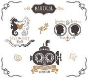 Modelli disegnati a mano di logo dell'invito di nozze nello stile nautico Immagine Stock Libera da Diritti