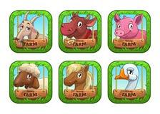 Modelli divertenti di logo del gioco dell'azienda agricola del fumetto Fotografia Stock