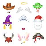 Modelli divertenti piani delle icone di video di chiacchierata effetto divertente del fronte messi royalty illustrazione gratis