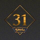 Modelli dorati di numero 31 illustrazione di stock
