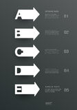 Modelli e lettere semplici di carta A, B, C, D, progettazione di E per il infographics Fotografia Stock Libera da Diritti