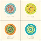 Modelli e modelli di progettazione di logo Emblemi orientali ornamentali Insieme di simboli circolare creativo Fotografia Stock