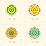 Modelli e modelli di progettazione di logo Emblemi orientali ornamentali Insieme di simboli circolare creativo Fotografie Stock