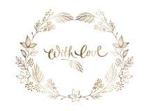 Modelli eleganti di progettazione floreale dell'oro Ornamento elegante di nozze Iscrizione dell'oro nel telaio floreale decorato illustrazione vettoriale
