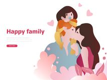 Modelli felici per medico di famiglia, gravidanza, vita sana di progettazione della famiglia illustrazione vettoriale