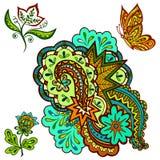 Modelli, fiori e farfalla Immagini Stock