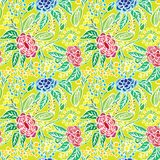 Modelli floreale senza cuciture dai fiori, dalle foglie, dai gambi e dai germogli dei colori differenti con un profilo bianco Fotografia Stock Libera da Diritti