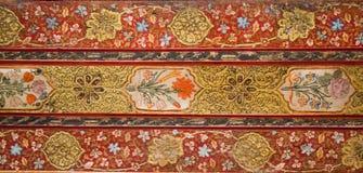 Modelli floreali dell'ottomano su legno Fotografia Stock