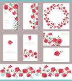 Modelli floreali della molla con i mazzi svegli di rose rosse Spazzola orizzontale senza fine del modello Fotografie Stock