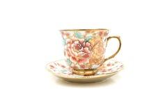 Modelli floreali della tazza di caffè Fotografie Stock