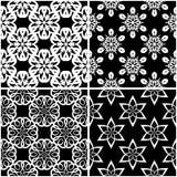 Modelli floreali Insieme degli ambiti di provenienza senza cuciture in bianco e nero Fotografia Stock
