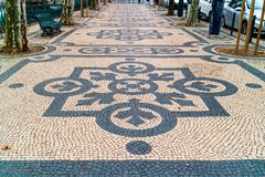 Modelli geometrici dei passaggi pedonali pubblici a Lisbona Fotografia Stock Libera da Diritti