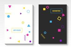 Modelli geometrici della cartolina di vettore nello stile di Pop art illustrazione vettoriale