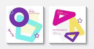 Modelli geometrici della cartolina di vettore nello stile di Pop art royalty illustrazione gratis