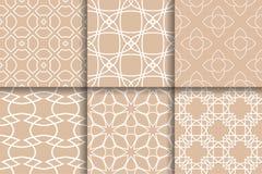 Modelli geometrici di Brown Raccolta delle strutture senza cuciture Fotografie Stock Libere da Diritti