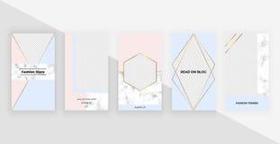 Modelli geometrici di modo per le storie del instagram, media sociali, alette di filatoio, carta, manifesto, insegna Progettazion illustrazione di stock