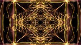 Modelli gialli astratti di frattale su fondo nero Bello ornamento del quadrato nel moto del tunnel, festivo piacevole royalty illustrazione gratis