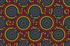 Modelli i cerchi variopinti dell'illustrazione della carta da parati di struttura del fondo come marrone giallo rosso di verde bl fotografia stock