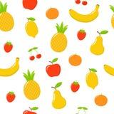 Modelli i colori luminosi svegli delle collezioni di vettore di frutti Metta dei frutti sono mela, il limone, la banana, l'aranci royalty illustrazione gratis