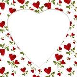 Modelli i petali rosa del cuore rosso su una billetta della cartolina d'auguri del gambo Immagine Stock
