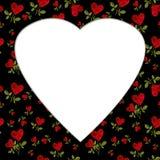 Modelli i petali rosa del cuore rosso su una billetta della cartolina d'auguri del gambo Fotografia Stock