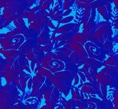 Modelli il blu senza cuciture delle rose e delle foglie, per tessuto, carta Fotografie Stock Libere da Diritti