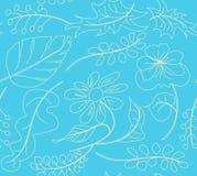 Modelli il modello senza cuciture dei fiori su un fondo blu, per la carta da parati della carta velina Immagini Stock Libere da Diritti