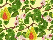 Modelli il ramo senza cuciture di un pero con i fiori e dei frutti su un fondo giallo Per il panno, carta da parati, incerate Immagine Stock Libera da Diritti
