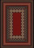 Modelli il vecchio tappeto con l'ornamento eterogeneo sul confine e sulla Borgogna metà di Fotografia Stock