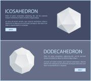 Modelli isometrici di Dodecahedron dell'icosaedro determinati Illustrazione di Stock