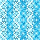 Modelli l'estratto senza cuciture dai contorni dei fiori e dalle bande di blu e di bianco Per il tessuto, carta da parati, carta Fotografia Stock Libera da Diritti