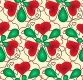 Modelli l'estratto senza cuciture dei cuori e delle foglie di rosso e di verde Per la carta velina, scrapbooking Immagine Stock