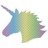 Modelli la siluetta dell'unicorno magico sui precedenti punteggiati di effetto dell'arcobaleno nell'effetto 3D Immagini Stock