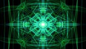 Modelli leggeri magici verdi di frattale su fondo nero Mandala in tensione per i exersises spirituali illustrazione vettoriale