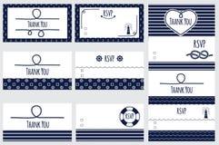 Modelli nautici della partecipazione di nozze La progettazione marina della carta ringrazia voi e RSVP Fotografia Stock