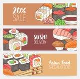 Modelli orizzontali variopinti dell'insegna con i sushi giapponesi disegnati a mano, rotoli, wasabi del sashimi, bastoncini Pranz illustrazione di stock