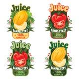 Modelli per le etichette di succo dal melone e dal pomodoro fotografia stock