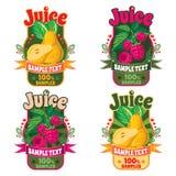 Modelli per le etichette di succo dalla pera e dai lamponi fotografia stock