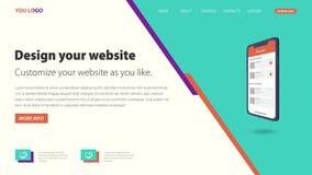 Modelli piani di progettazione, homepage di web, illustrazione moderna di vettore royalty illustrazione gratis