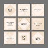 9 modelli quadrati della disposizione per i apps sociali di media illustrazione di stock