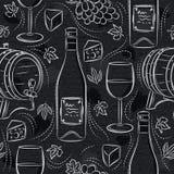 Modelli senza cuciture con l'insieme, il barile, il bicchiere di vino, il barilotto, l'uva ed il formaggio del vino bianco sulla  illustrazione vettoriale