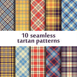10 modelli senza cuciture del tartan Fotografie Stock