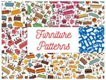 Modelli senza cuciture della mobilia per interior design Fotografia Stock