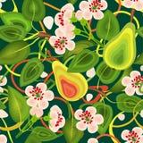 Modelli senza cuciture delle foglie dei fiori, pere su un fondo verde Per il panno, carta da parati, carta da imballaggio Immagine Stock Libera da Diritti