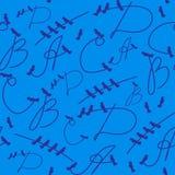 Modelli senza cuciture delle lettere e degli uccelli su un fondo blu Immagine Stock