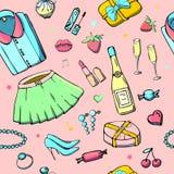 Modelli senza cuciture di vettore con la roba delle ragazze Illustrazione di modo con l'abbigliamento, i gioielli, i cosmetici, i illustrazione vettoriale