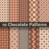 Modelli senza cuciture di vettore del cioccolato (piastrellatura). Fotografie Stock Libere da Diritti