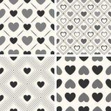 Modelli senza cuciture di vettore di forma del cuore Il nero e Fotografia Stock